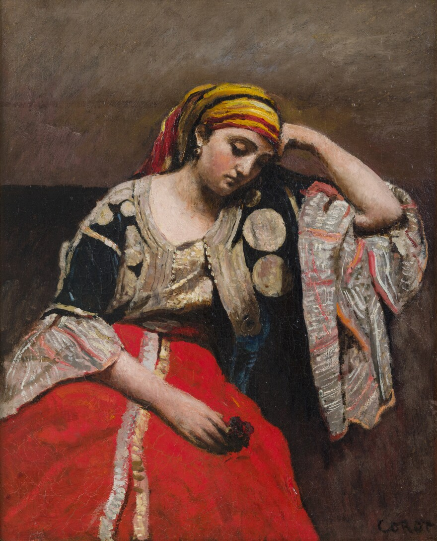 Corot's mother was a milliner and his father was a textile merchant — he paints many of his models in elaborate costumes. He made <em>Jewish Woman of Algeria </em>in 1870.