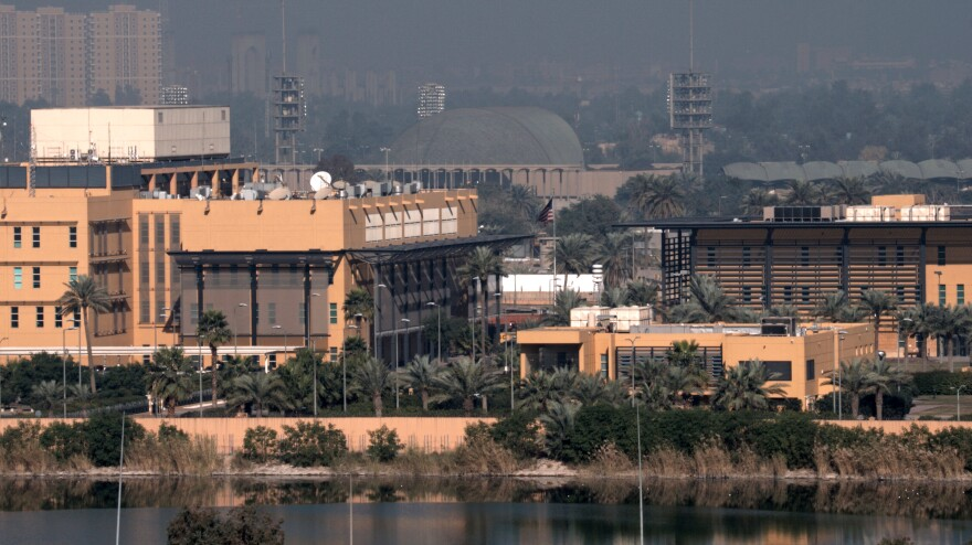 Mortars hit a restaurant in the U.S. Embassy compound in Baghdad's Green Zone on Sunday night, according to Iraqi officials. The embassy is seen here earlier this month.