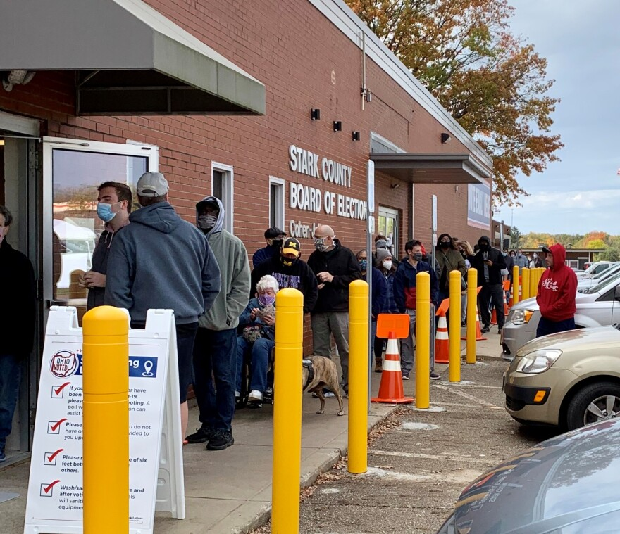 Early voting line at Stark County Board of Elections