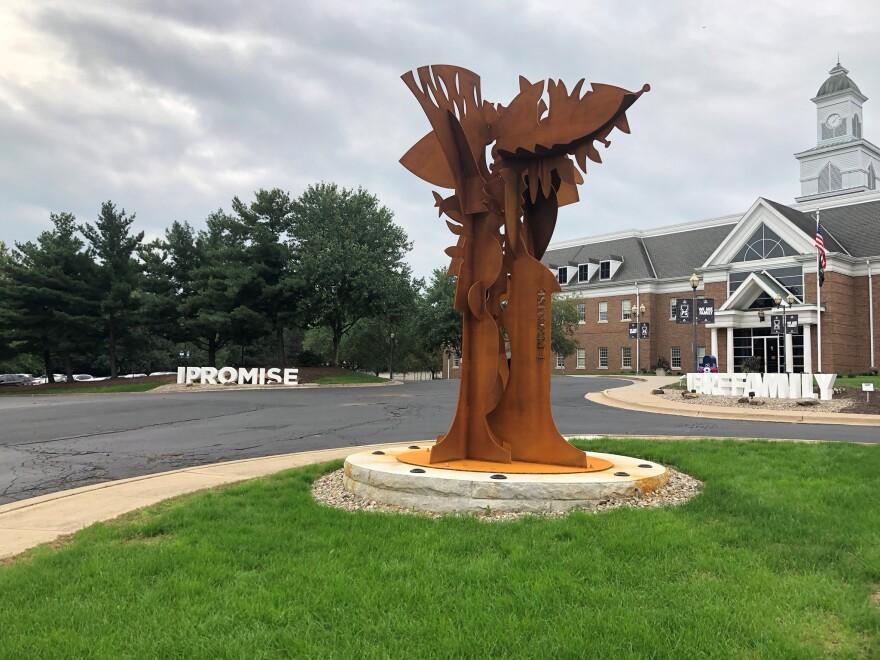 Drumm's 'Tree of Life' stands tall in front of the newly-opened I Promise School in Akron.