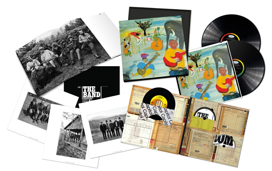 The box set of <em>Music from Big Pink</em>'s reissue includes two LPs, CD, Blu-Ray, 7-inch vinyl and a hardback book.