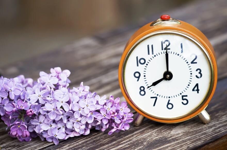 lilacs next to a wooden alarm clock