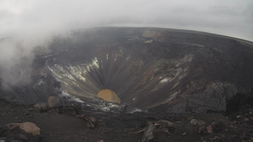 At 9:30 p.m. on Dec. 20 an eruption began in the walls of Halemaʻumaʻu crater, vaporizing the lake. This is what the lake looked like at 5:57 p.m. before the eruption.