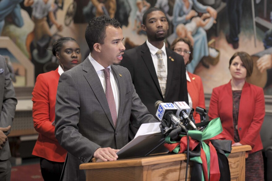 State Rep. Steven Roberts at the Legislative Black Caucus' press conference kicking off Black History Month on Feb. 3, 2020.