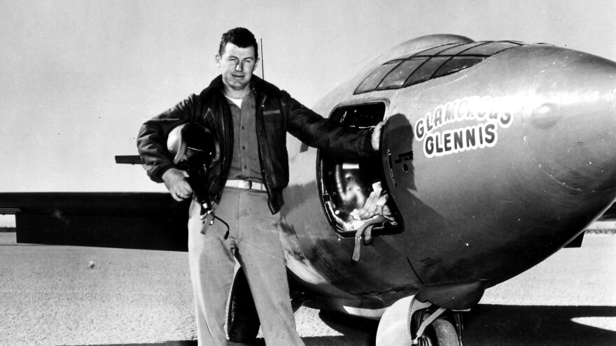 "Chuck Yeager, standing next to the ""Glamorous Glennis,"" the Bell X-1 experimental plane in which he first broke the sound barrier."