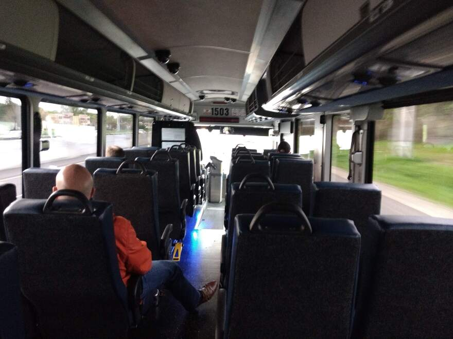 A CATS express bus from Davidson to Uptown Charlotte had only a few riders Monday morning.