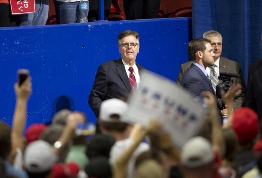 Texas Lt. Gov. Dan Patrick attends a Donald Trump rally on Aug. 23, 2016, in Austin.