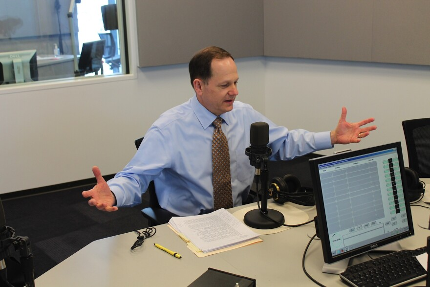 St. Louis Mayor Francis Slay talks to 'St. Louis on the Air' host Don Marsh on Jan. 7, 2015, at St. Louis Public Radio in St. Louis.