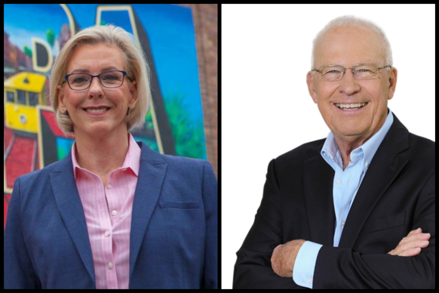 Jane Castor, left, and David Straz are running to become mayor of Tampa.