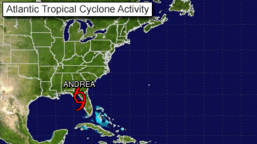 The National Hurricane Center's tracking system placed Tropical Storm Andrea on Florida's Gulf coast, level with Gainesville, Thursday afternoon. The storm is expected to spread rain and strong winds along the Southeastern coast tonight and Friday.