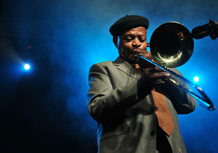 Trombonist Jonas Gwangwa performs in Sandton, South Africa in 2017.