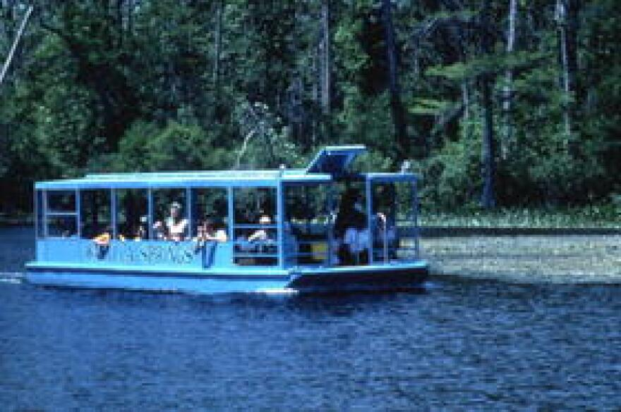 One of the famed glass-bottom boats, touring Wakulla Springs circa 1985.