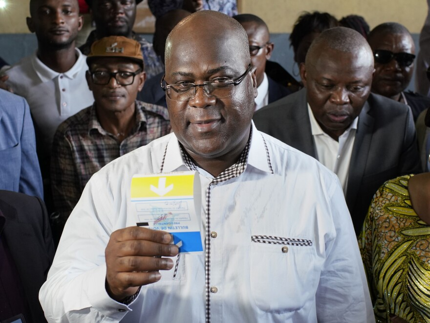 Opposition presidential candidate Felix Tshisekedi casting his ballot in Kinshasa. Tshisekedi won the election amid concerns of vote-rigging.