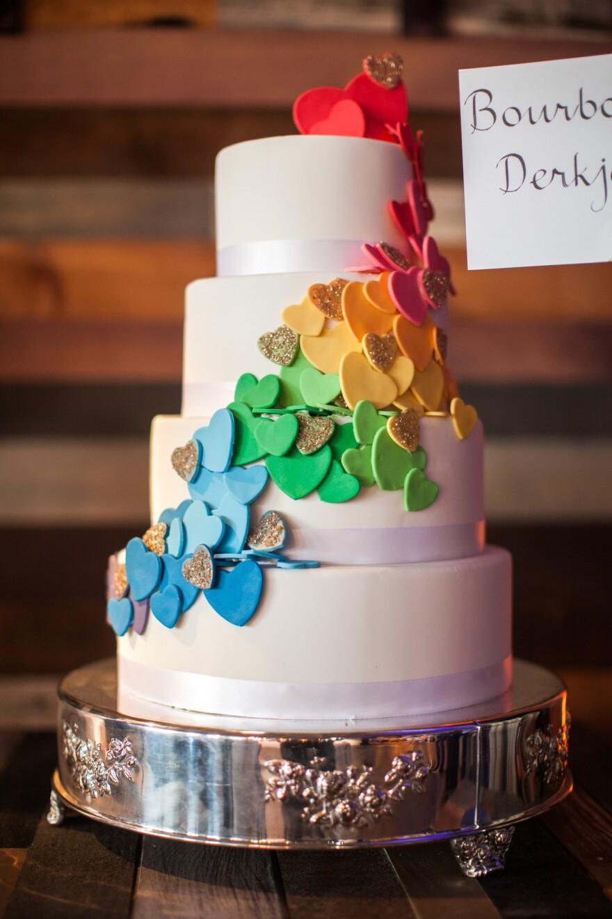 """Derkje Steenblik from Bourbon Steak says of her cake: """"The hearts ascending symbolize love ascending."""""""