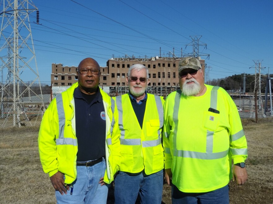 From left, Lanford Reid, Bob Drum and Ricky McGee all worked at the Riverbend plant for decades before it shut down. Reid and McGee are now helping to oversee demolition.