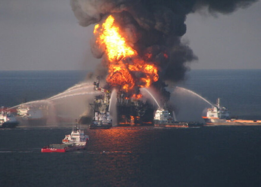 Firefighting boats attempt to put out the blaze at the Deepwater Horizon drilling rig
