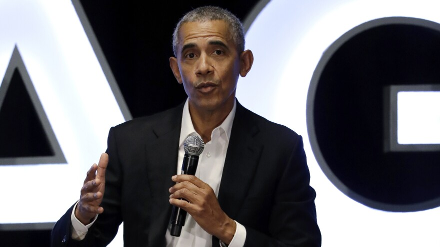 Former President Barack Obama talks during a panel with NBA players in Chicago on Feb. 15.