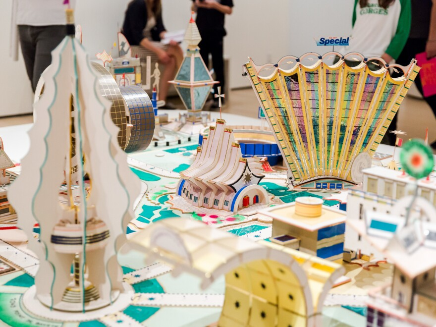 <em>Kimbembele Ihunga.</em> 1994. This model city is Kingelez's re-imagining of the town where he grew up.