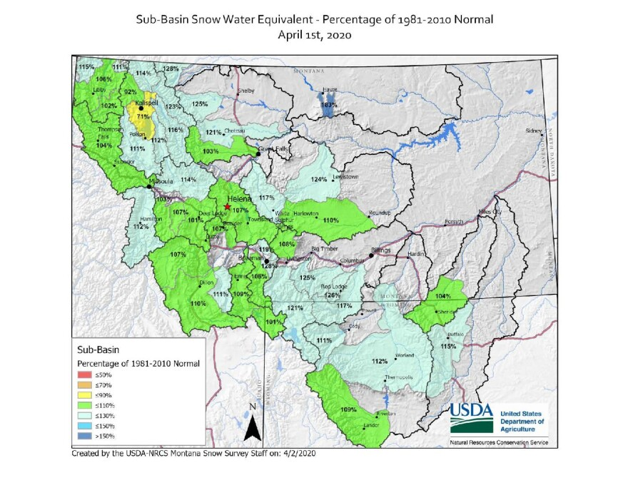 Montana Sub-basin Snow-Water Equivalent Percentage of 1981-2010 Normal, April 1, 2020.