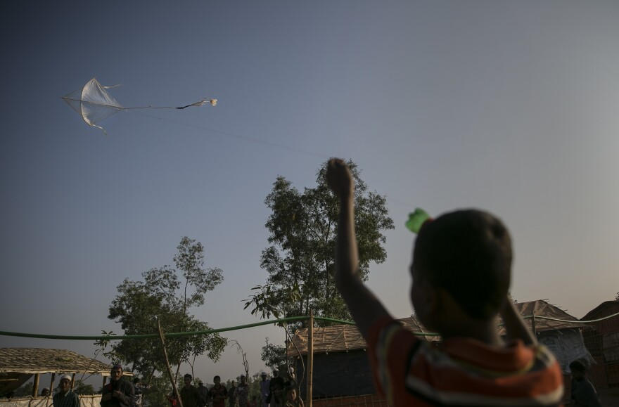 Flying a kite in the Hakimpara refugee camp.