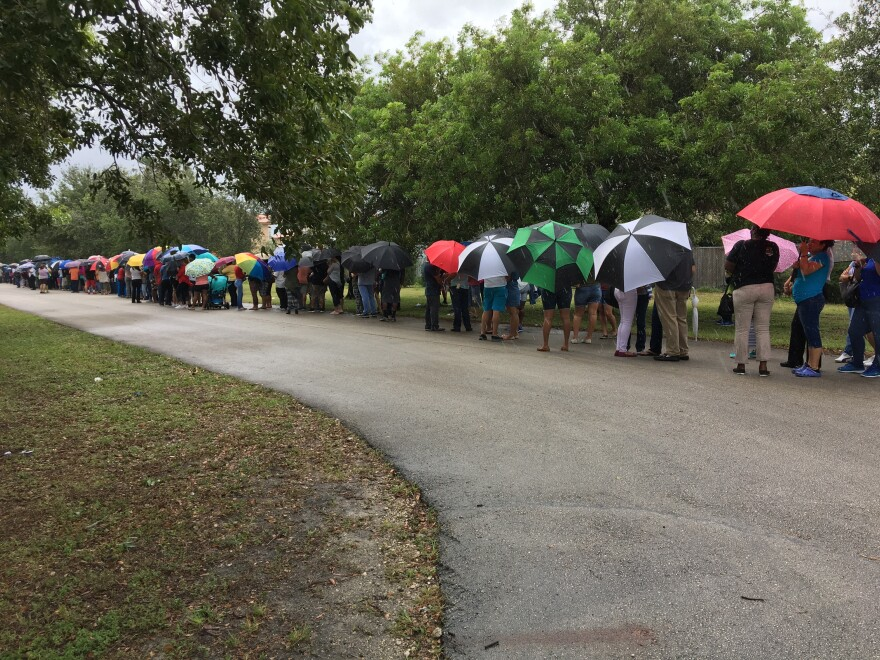 The line to register for DSNAP at Amelia Earhart Park.