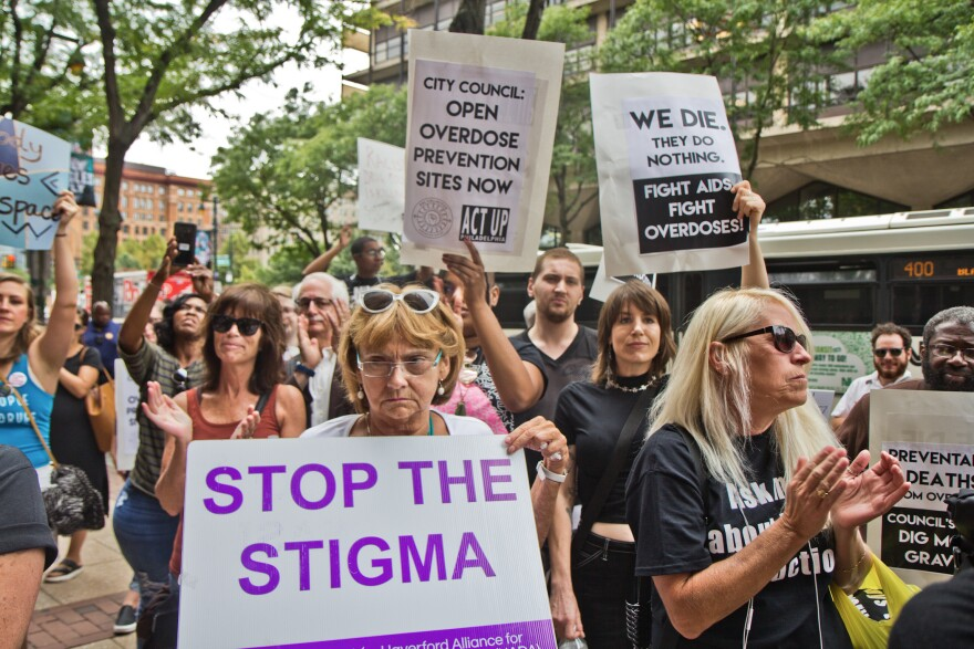 """Supporters of safe injection sites in Philadelphia rallied outside this week's federal hearing. The judge's ultimate ruling will determine if the proposed """"Safehouse"""" facility to prevent deaths from opioid overdose would violate the federal Controlled Substances Act."""