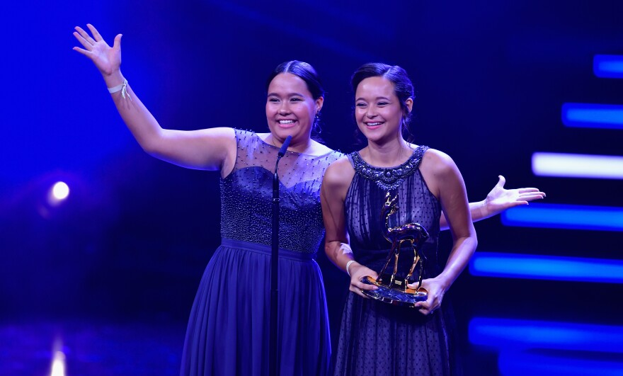 "Teenage sisters Melati and Isabel Wijsen of Bali have received many honors for their efforts to ban plastic bags. Above: They accept the 2017 ""Award for Our Earth"" from Germany's Bambi Awards."