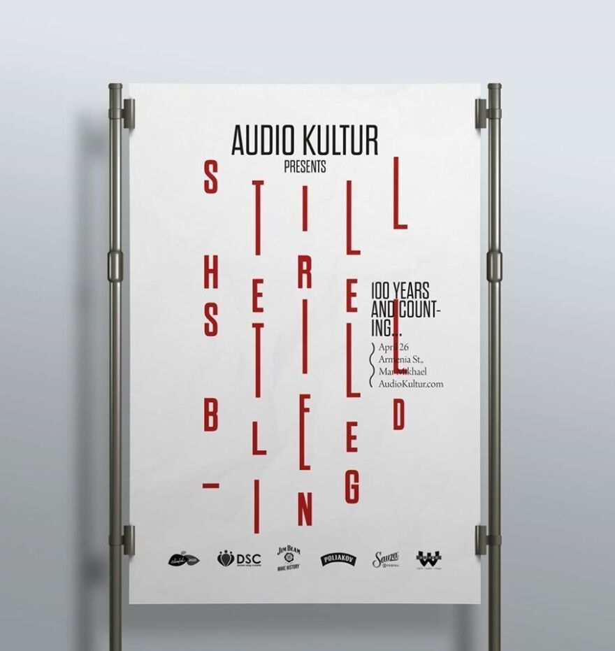 The magazine <em>Audio Kultur</em> printed this poster, which commemorates the 100th anniversary of the massacre of 1.5 million Armenians, using blood.