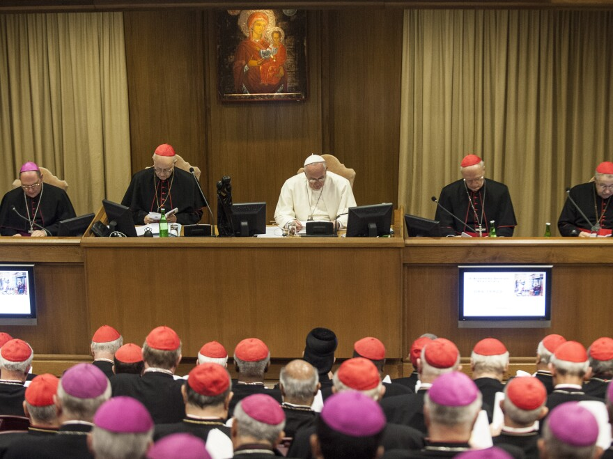 Pope Francis attends a morning session of a two-week synod on family issues at the Vatican, on Monday.