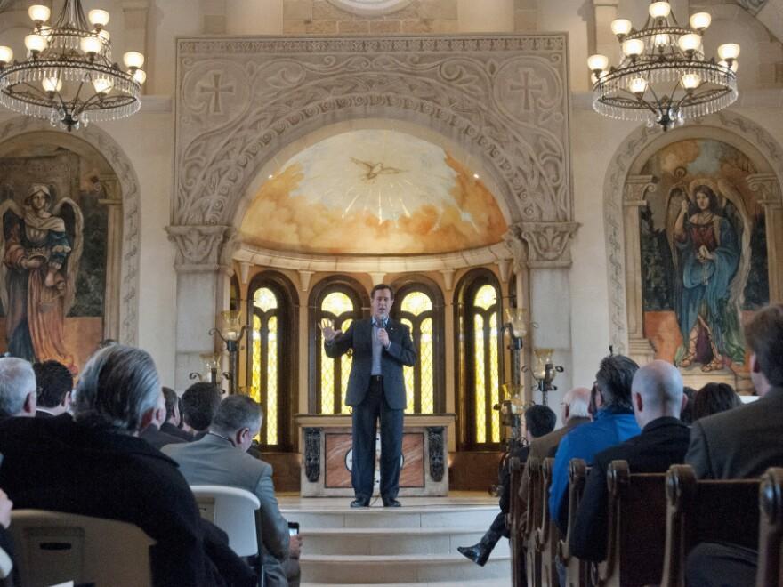 Former Pennsylvania Sen. Rick Santorum speaks at the Bella Donna Chapel in McKinney, Texas, on Wednesday.