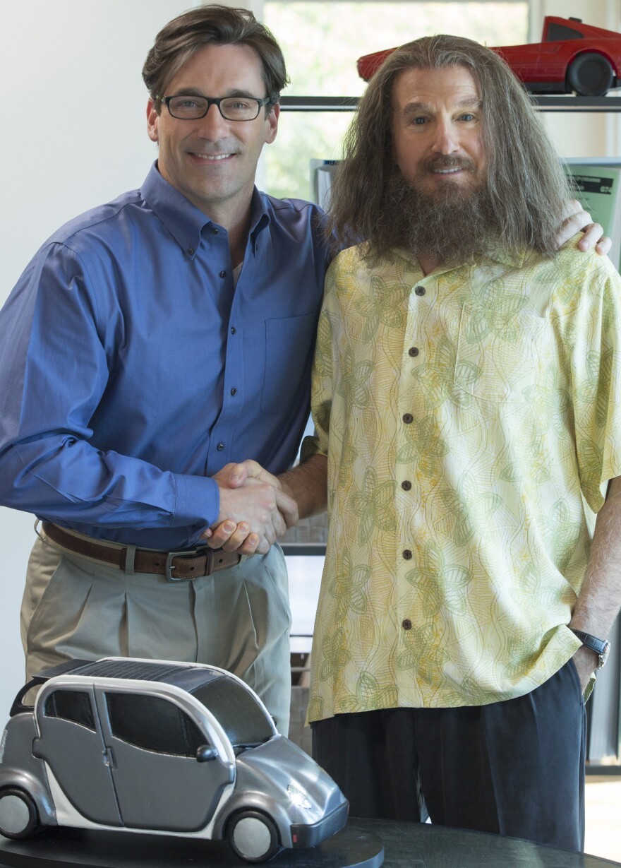 Jon Hamm stars alongside Larry David (under a lot of hair and makeup) in HBO's <em>Clear History</em>. It tells the story of a marketing executive (David) who fights with his boss (Hamm) and sells his share of the company — right before it makes it big.