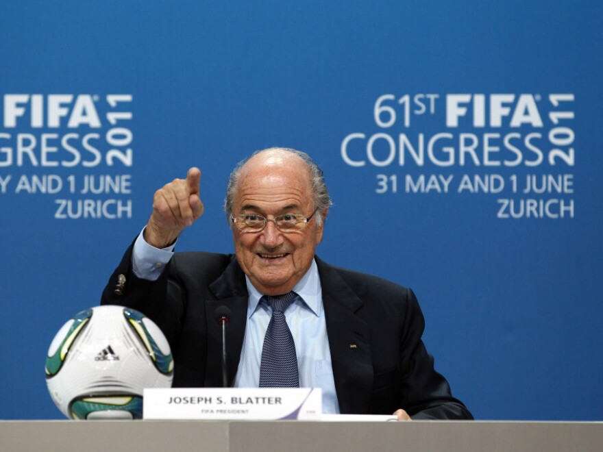 """FIFA President Joseph S. """"Sepp"""" Blatter talks to media at a press conference after being re-elected during the 61st FIFA Congress on June 1 in Zurich."""