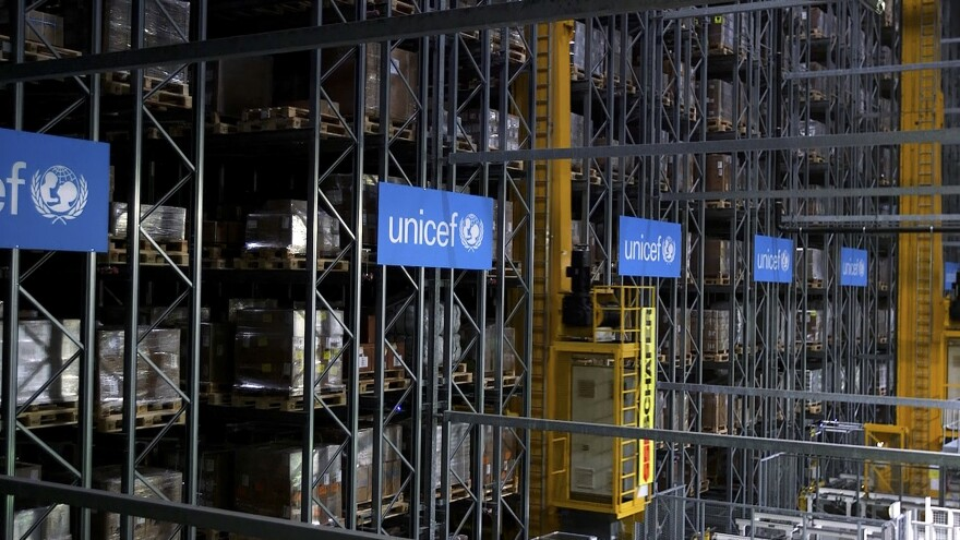 UNICEF said Monday it plans to stockpile 520 million syringes in its warehouses in preparation for an eventual COVID-19 vaccine. This warehouse in Copenhagen, Denmark is part of the agency's infrastructure to deliver medical supplies around the world.