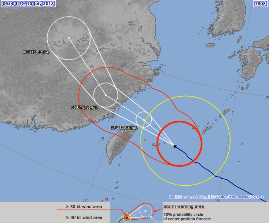 Forecast track of super typhoon Maria.