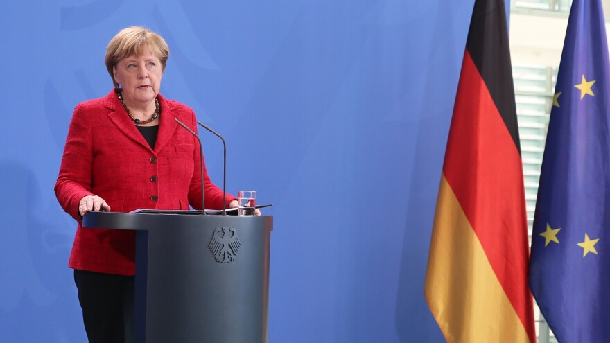 "German Chancellor Angela Merkel speaks on Nov. 9 in Berlin, saying that Germany is prepared to work with a Trump administration that respects ""democracy, freedom"" and human ""dignity."""