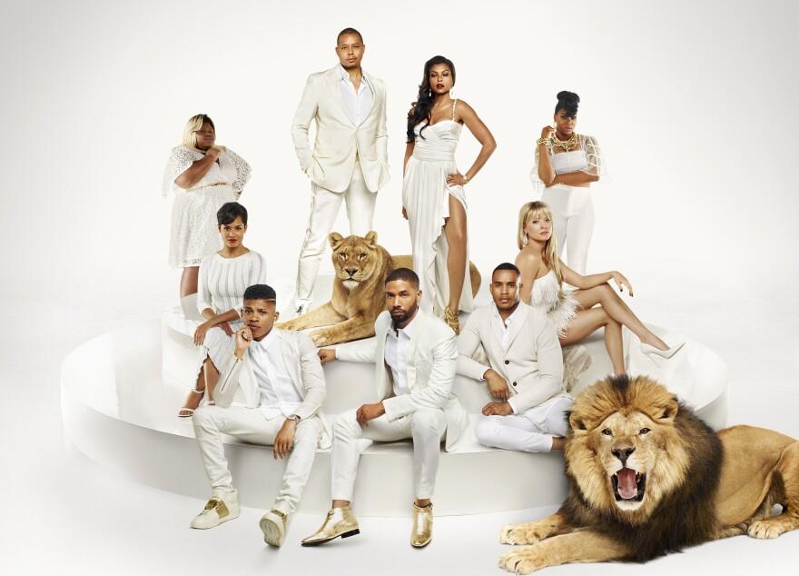 """L-R: (Bottom Row) Bryshere Gray as Hakeem Lyon, Jussie Smollett as Jamal Lyon, Trai Byers as Andre Lyon (Middle Row) Grace Gealey as Anika, Kaitlin Doubleday as Rhonda Lyon (Top Row) Gabourey Sidibe as Becky, Terrence Howard as Lucious Lyon, Taraji P. Henson as Cookie Lyon and Ta'Rhonda Jones as Porsha in <em>Empire</em> Season Two."""