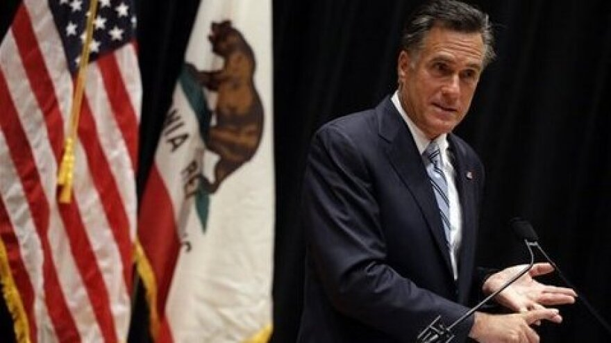 Mitt Romney speaks about secretly taped video from one of his campaign fundraising events, Monday in Costa Mesa, Calif.,