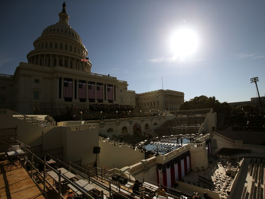 The stage at the U.S. Capitol ahead of President Barack Obama's second inauguration in 2013.