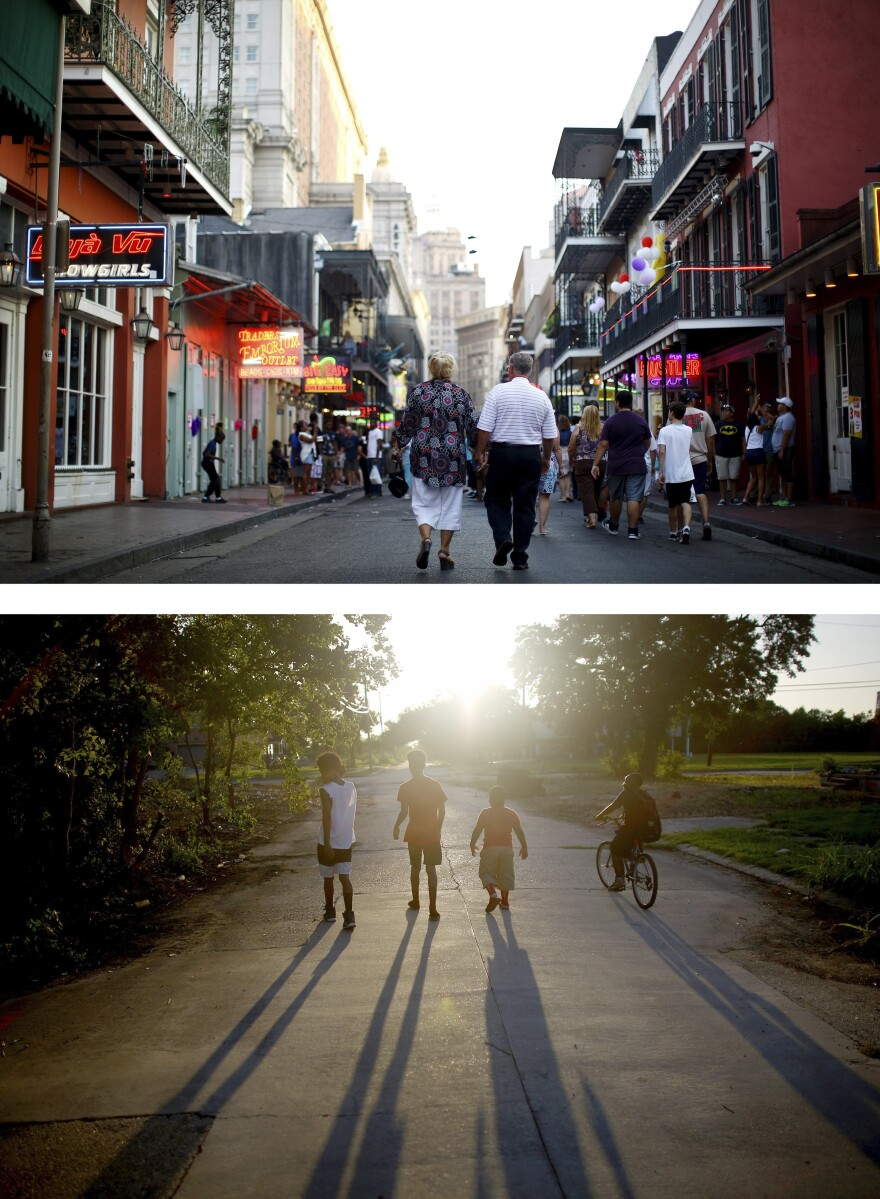 In some neighborhoods, like the Lower Ninth Ward (bottom), many residents never returned after Hurricane Katrina. Others, like the French Quarter (top), have seen an influx of newcomers.
