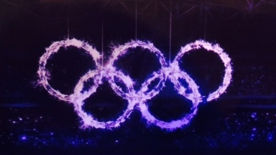 What it was supposed to look like: NPR's Robert Smith sent us this image from the Sochi media guide, previewing how Olympic rings were meant to be displayed in the Opening Ceremony.