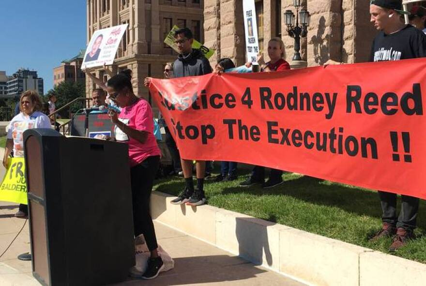Sandra Reed, Rodney Reed's mother, calls for an end to the death penalty and a fair trial for her son at the Texas Capitol on Oct. 19, 2019.