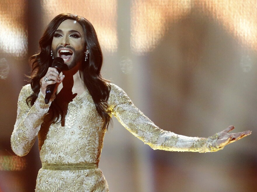 "Singer Conchita Wurst, representing Austria, performs the song ""Rise Like a Phoenix"" during the final of the Eurovision Song Contest in Copenhagen, Denmark. Wurst, who won the competition, placed seventh on Google's list of 2014's fastest-rising global search requests."