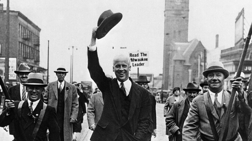 Socialist candidate for the presidency Norman Thomas parades down Wisconsin Avenue in Milwaukee in 1932, where he made a speech.