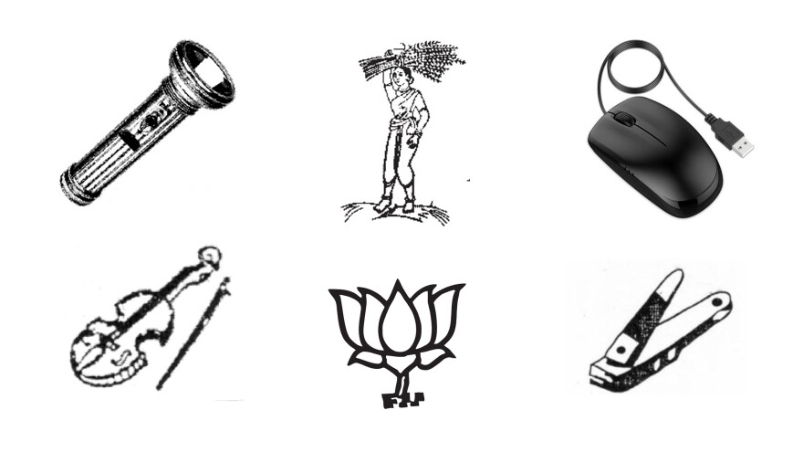 "India offers hundreds of symbols for political parties. The flashlight, ""lady farmer"" and lotus blossom (Prime Minister Modi's party symbol) appear on voting machine ballots for elections this spring. No party claimed the violin, the computer mouse and the nail clippers."