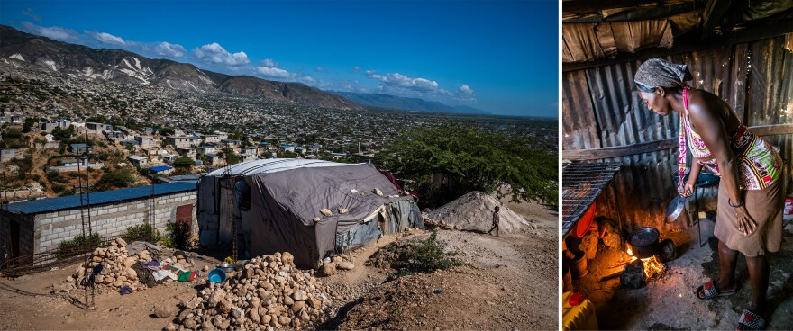 Elizabonne Casseus built this shelter (left) using surplus USAID tarps she purchased. She prepares a pot of beans for the more than a dozen people who stay in this shelter.