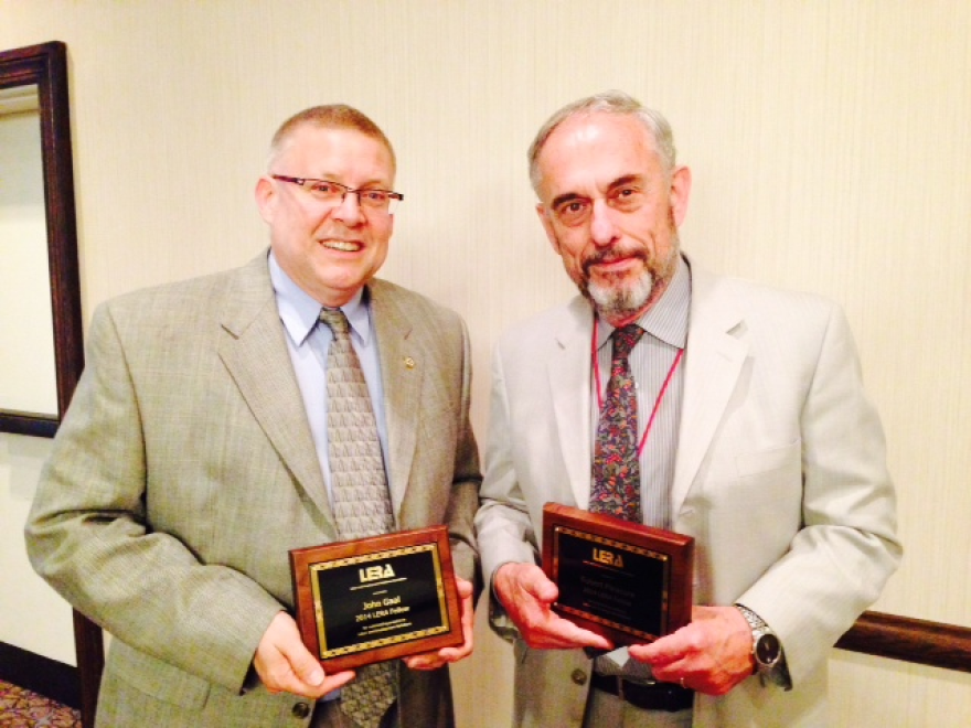 """John Gaal (left) received an award in 2015 for his role for """"improving labor-management relations at the local, state, regional, national, and international levels."""""""