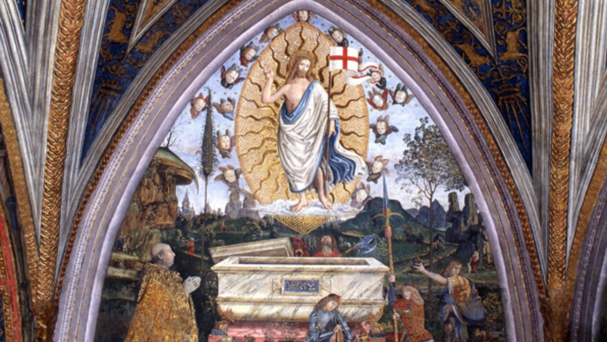 This recently restored painting in the Vatican, created in 1494 by the Renaissance master Pinturicchio, has a small depiction of naked men with feathered headdresses. This may be the first European depiction of Native Americans. The scene, just above the tomb of Jesus, is too small to be seen in this view of the entire painting but is shown in the photo below.