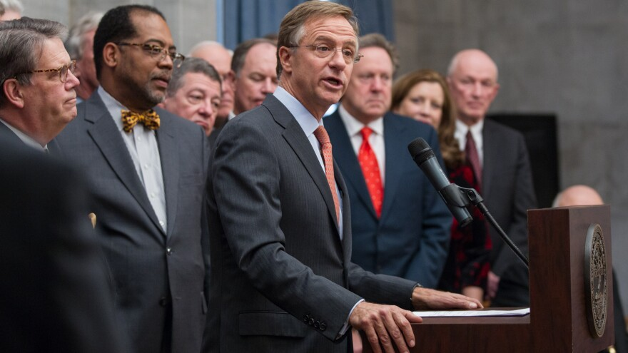 Gov. Bill Haslam announces his proposal to expand Medicaid in Tennessee at the state Capitol in Nashville Monday.