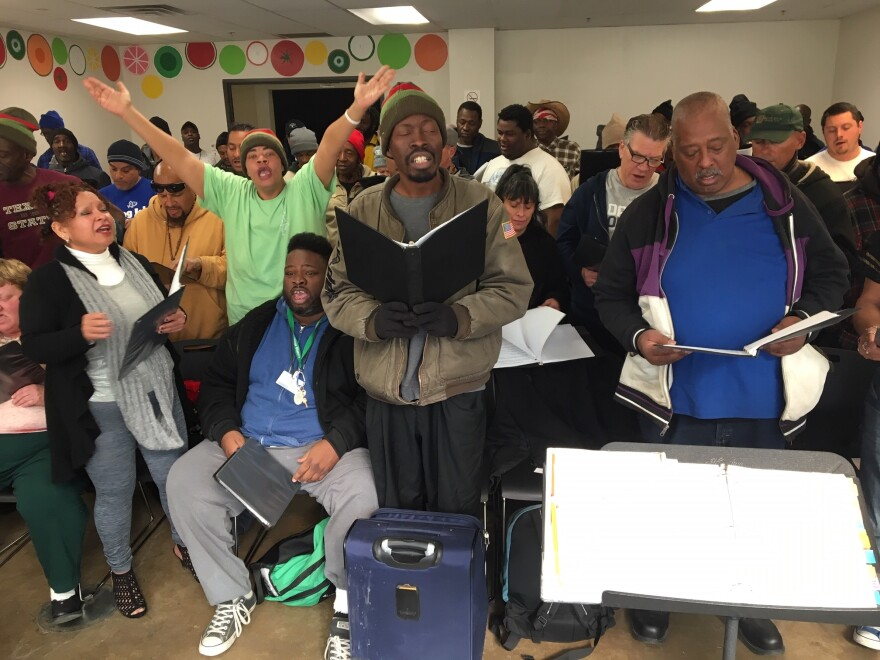 Members of the Dallas Street Choir rehearse at the Stewpot each week.