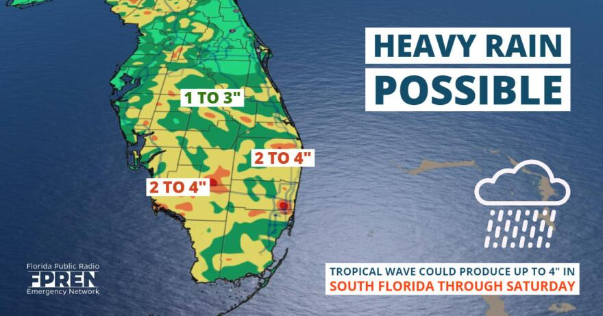 Heavy rain is possible for Florida as a tropical wave moves past the state.